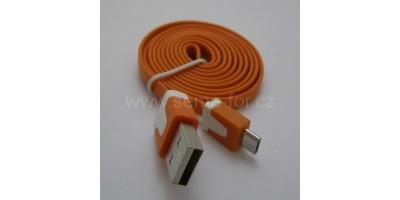 plochý kabel oranžový USB-micro USB 1,0m