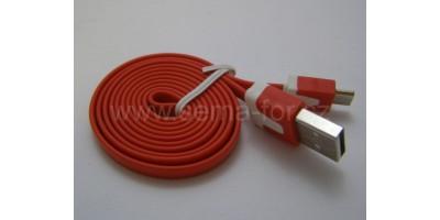 plochý kabel červený USB-micro USB 1,0m