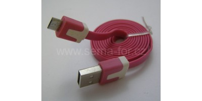 plochý kabel sv.fialový USB-micro USB 1,0m