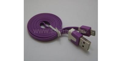 plochý kabel fialový USB-micro USB 1,0m