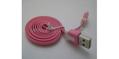 plochý kabel růžový USB-micro USB 1,0m