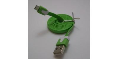 plochý kabel zelený USB-micro USB 1,0m