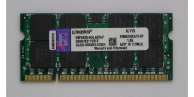 paměť DDR2 1GB RAM 666MHz Kingston pro laptop