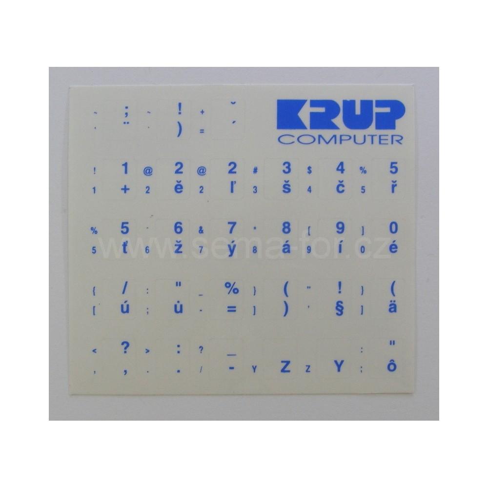 české přelepky na klávesnici bílé