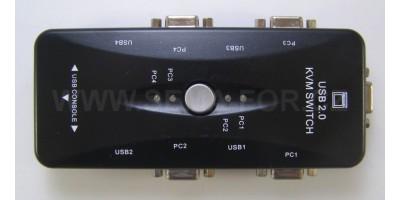 manuální 4-portový KVM přepínač KVM 4PC-1PC, VGA USB
