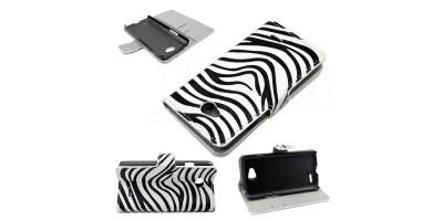 """LG L90 (D405) - 4,7"""" flipové pouzdro - vzor zebra"""
