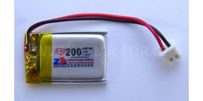 baterie ZC LION 3,7V 200mAh,50*22*5mm 2pin