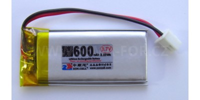 baterie ZC LION 3,7V 600mAh,50*22*5mm 2pin