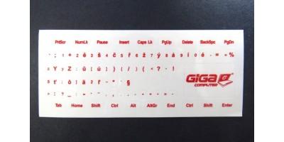 nálepky na klávesnici CS průhledné s červeným potiském GC