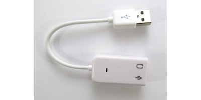 USB zvuková karta s kabelem - bílá