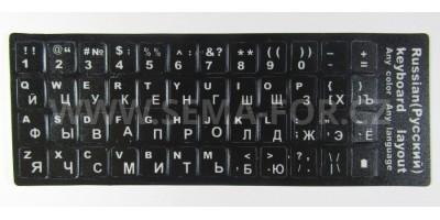 nálepky na klávesnici RU černé s bílým potiskem