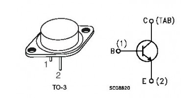 tranzistor 2N3055 N 100V/15A 115W 2MHz TO3