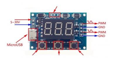 XY-LPWM generátor pulsní frekvence 1Hz-150Khz 3.3V-30V Board LCD Module