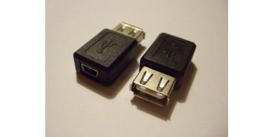 USB A Female to Mini USB B 5 Pin F Adapter
