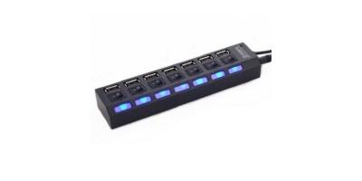 hub USB 7 port s vypínači black