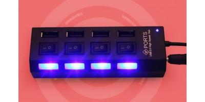 hub USB 4 port s vypínači černý