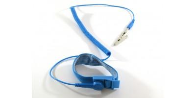Antistatický náramek - modrý se svorkou
