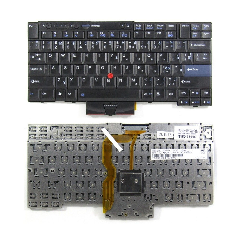 klávesnice IBM ThinkPad T410 T420 T510 T520 X220 black US/CZ/SK dotisk - malý enter